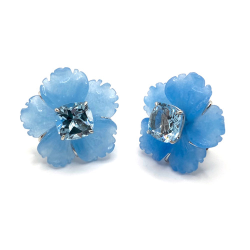 24mm Carved Blue Quartzite Flower with Blue Topaz Earrings