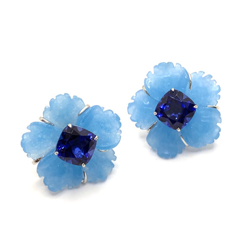 24mm Carved Blue Quartzite Flower with Sapphire Earrings