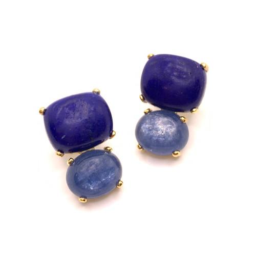 Cushion Lapis Lazuli & Oval Kyanite Drop Earrings
