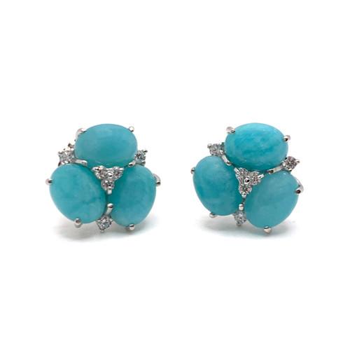 Triple Oval Amazonite Stud Earrings