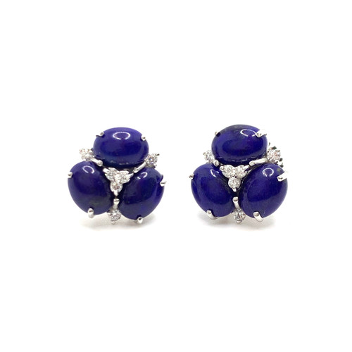 Triple Oval Lapis Lazuli Stud Earrings