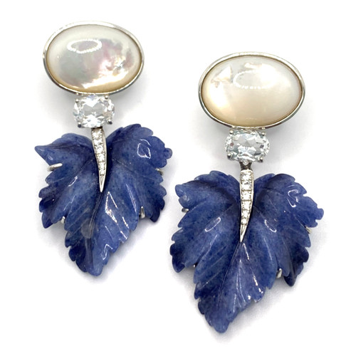 Oval Mother of Pearl and Carved Dumortierite Leaf Drop Earrings