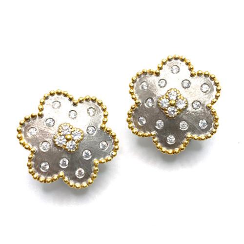 Clover Center Snowflake Two tone Earrings