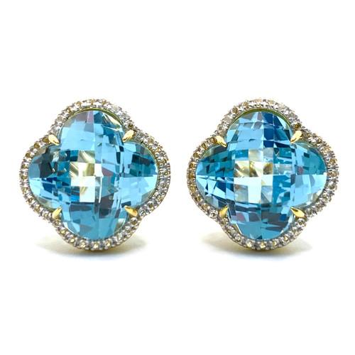 Clover Blue Topaz Halo Vermeil Button Earrings