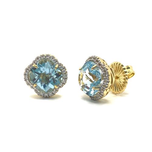 Clover Blue Topaz Halo Vermeil Stud Earrings