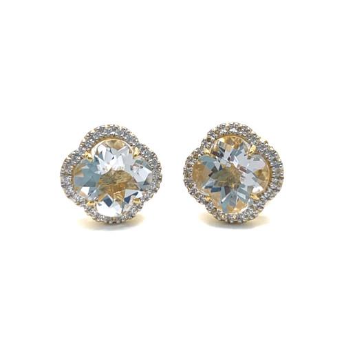 Clover Clear Quartz Vermeil Halo Stud Earrings