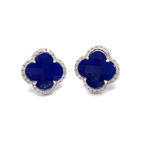 Clover Lapis Lazuli Halo Stud Earrings