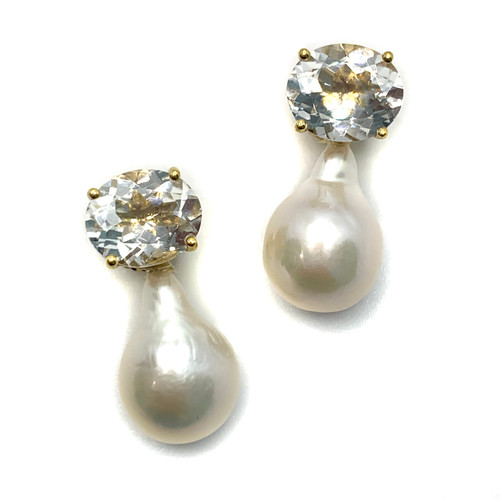 Oval White Topaz and White Baroque Pearl Vermeil Drop Earrings