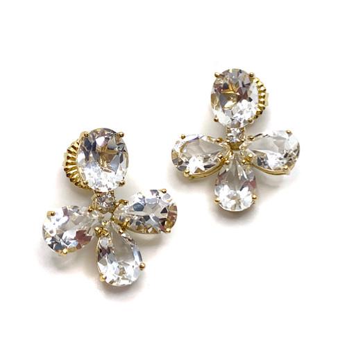 Triple Pear-shape White Topaz Vermeil Drop Earrings