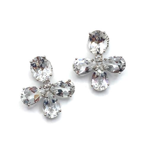 Triple Pear-shape White Topaz Drop Earrings