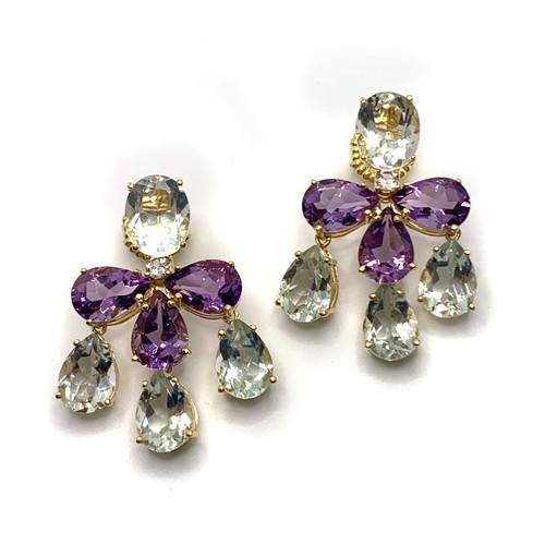 Triple Pear-shape Green Amethyst & Amethyst Chandelier Earrings