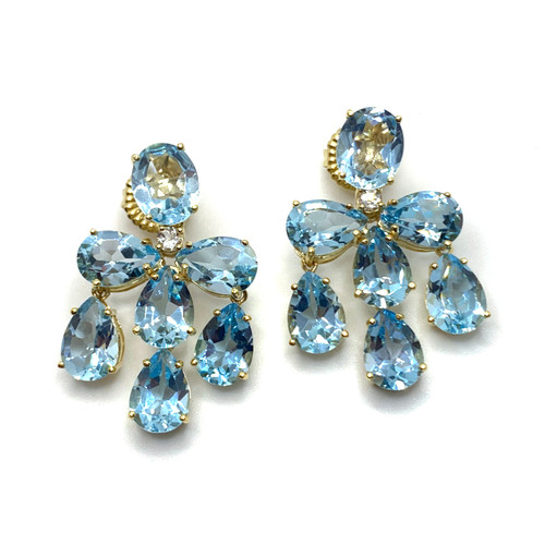 Triple Pear-shape Blue Topaz Chandelier Earrings