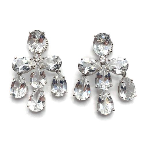 Triple Pear-shape White Topaz Chandelier Earrings
