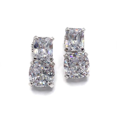 Radiant Cut Simulated Diamond and Cushion Cut Simulated Diamond Drop Earrings