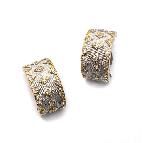 Diamond-Pattern Two Tone Half Hoop Clip Earrings