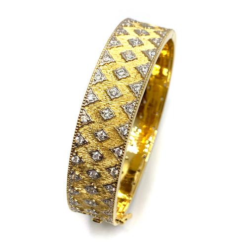 Diamond-Pattern Vermeil Bangle Bracelet