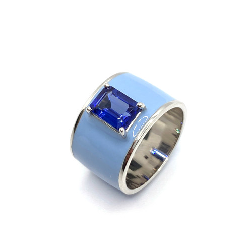 Emerald-cut Lab Sapphire Baby Blue Enamel Wide Band Ring