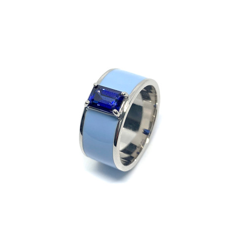 Emerald-cut Lab Sapphire in Baby Blue Enamel Band Ring