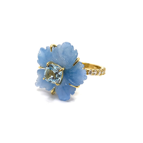 Small Carved Blue Quartzite Flower and Blue Topaz Ring