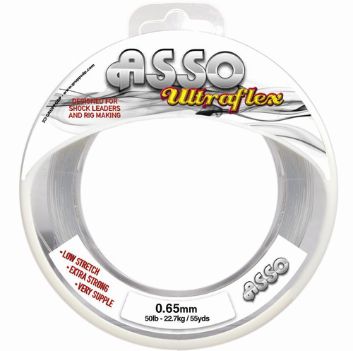 Asso Ultraflex  Product code: ASSOUF  Key features    Ultra Soft and Supple Ultra Low Stretch Super Smooth Maximum Strength Available in Clear or Orange   Asso UltraFlex has been speciallyengineered to offer a top qulaity Rig body and Shock leader material.  Ultra Flex is very soft and supple yet maintains strength and abrasion resistance.  With breaking strains from 20lb upto80lb ultraflex is ideal for anykind of rig body from light lines for continetal rigs upto heavy rigs for fishing big leads over rough ground.  Ultra flex offers excellent knotting, making it the perfect choice for shock leaders.