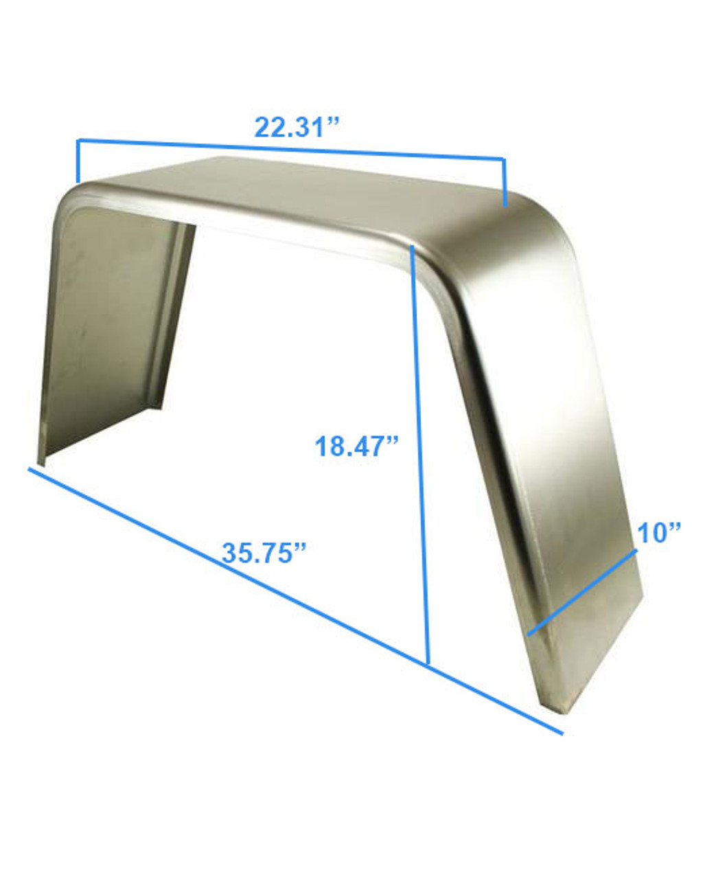 36x10 Smooth Aluminum Single Axle Jeep Style Utility Trailer Fender - One Fender