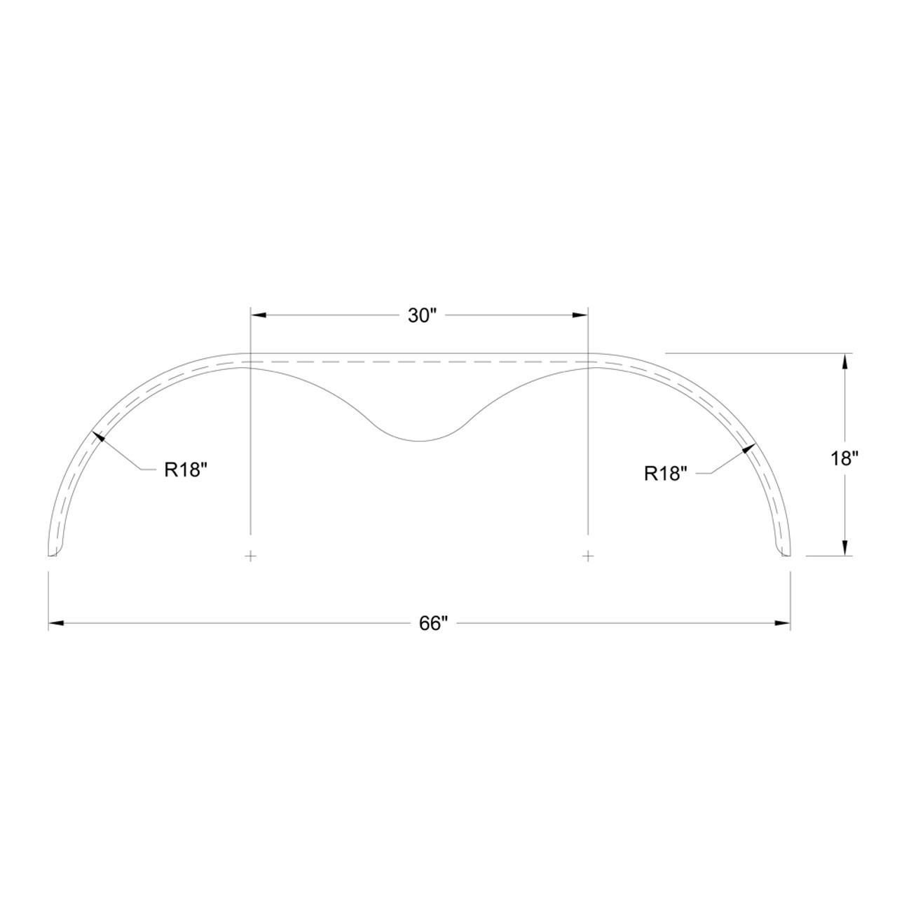 66x9 Smooth Aluminum Tandem-Axle Teardrop Trailer Fender - One Fender