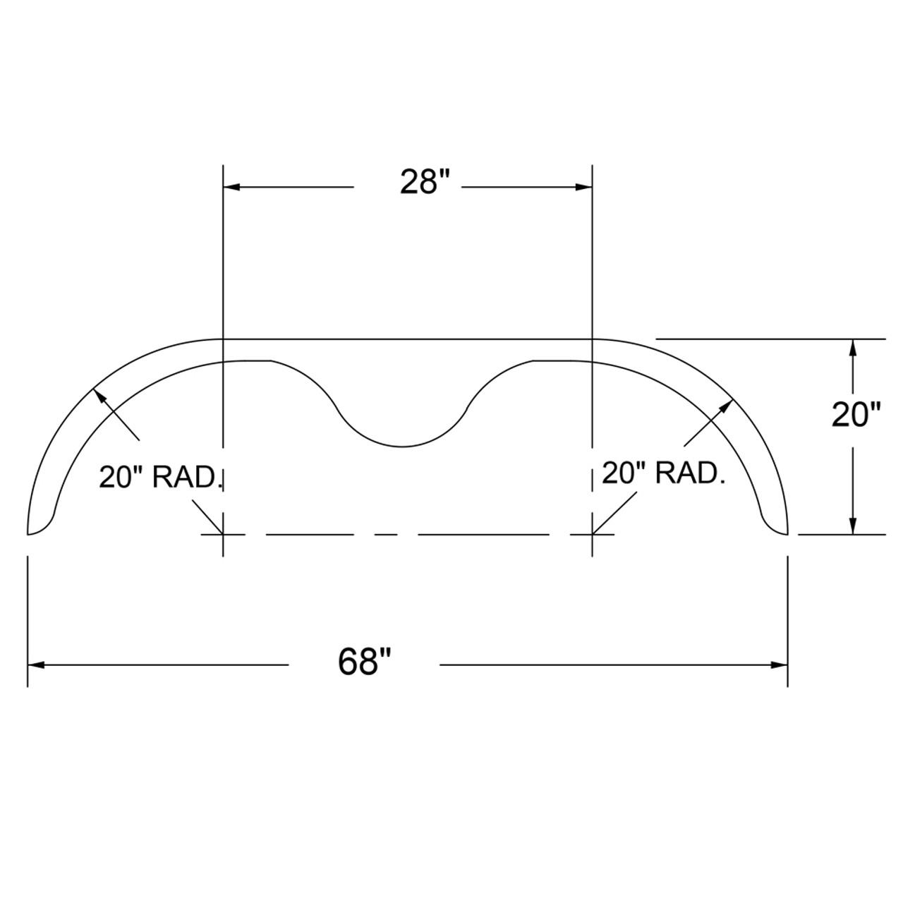 68x10-3/4 Smooth Aluminum Tandem-Axle Teardrop Trailer Fender - One Fender