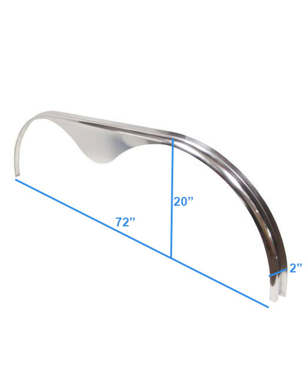 72x2 Smooth Aluminum Tandem Axle Teardrop Fender Flare - One Fender