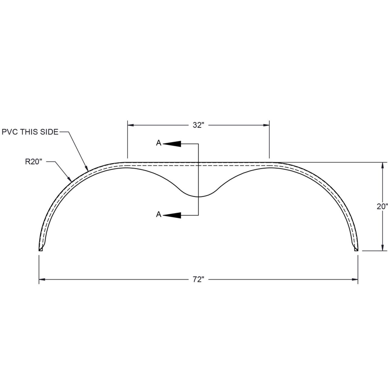72x9 Tandem Axle Teardrop 16-Gauge Steel Trailer Fender - One Fender