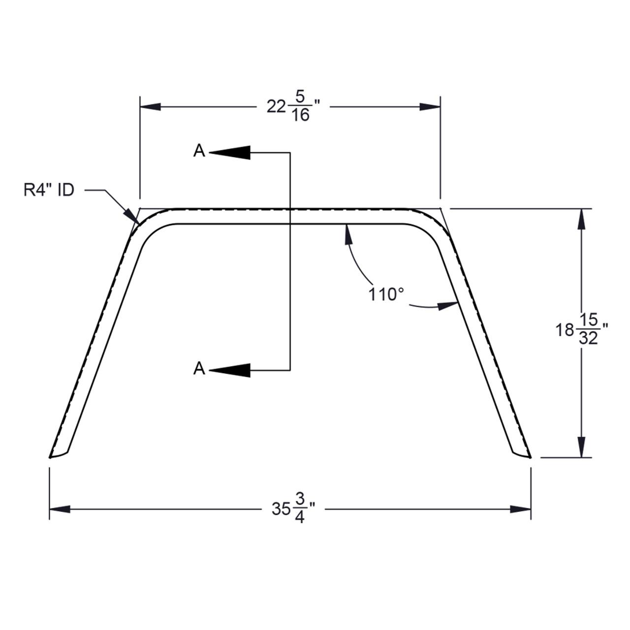 36x10 Single Axle Utility/Jeep Style 16-Gauge Steel Trailer Fender - One Fender