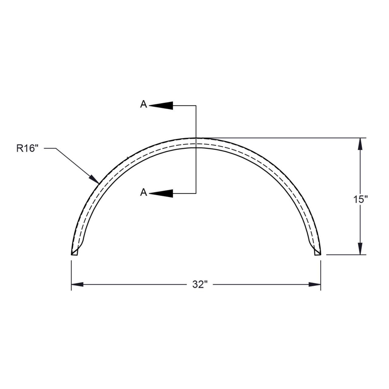 32x10-3/4 Aluminum Tread Plate Trailer Fender Single Axle Round - One Fender