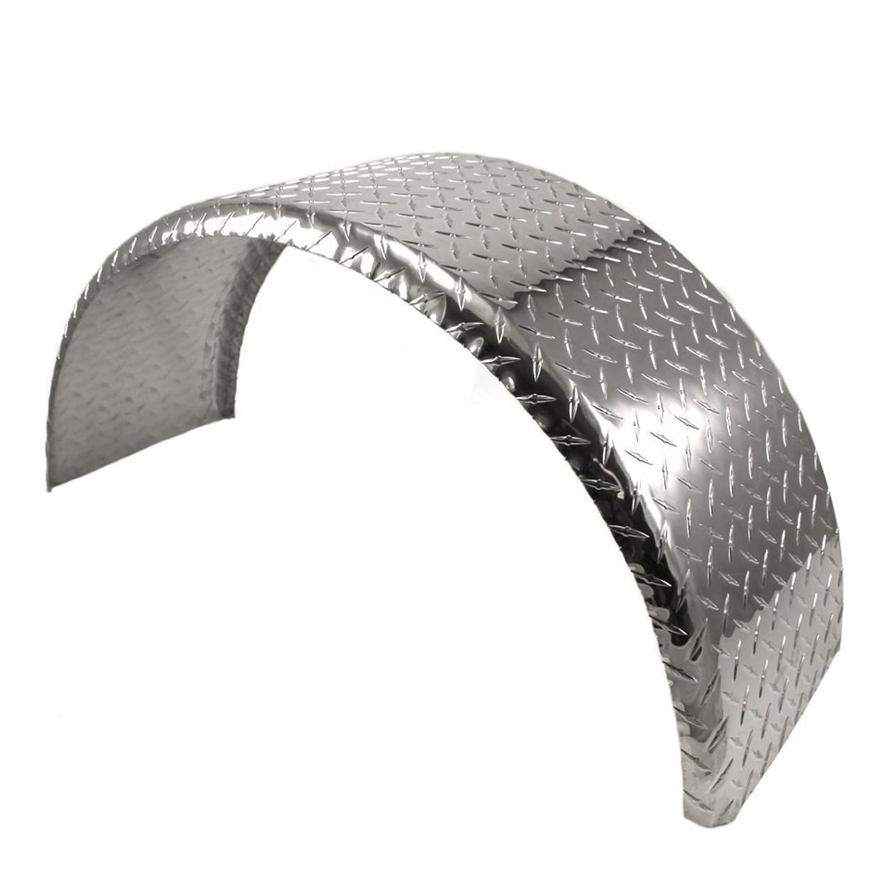 32x9 Single Axle Aluminum Tread Plate Trailer Fender angle