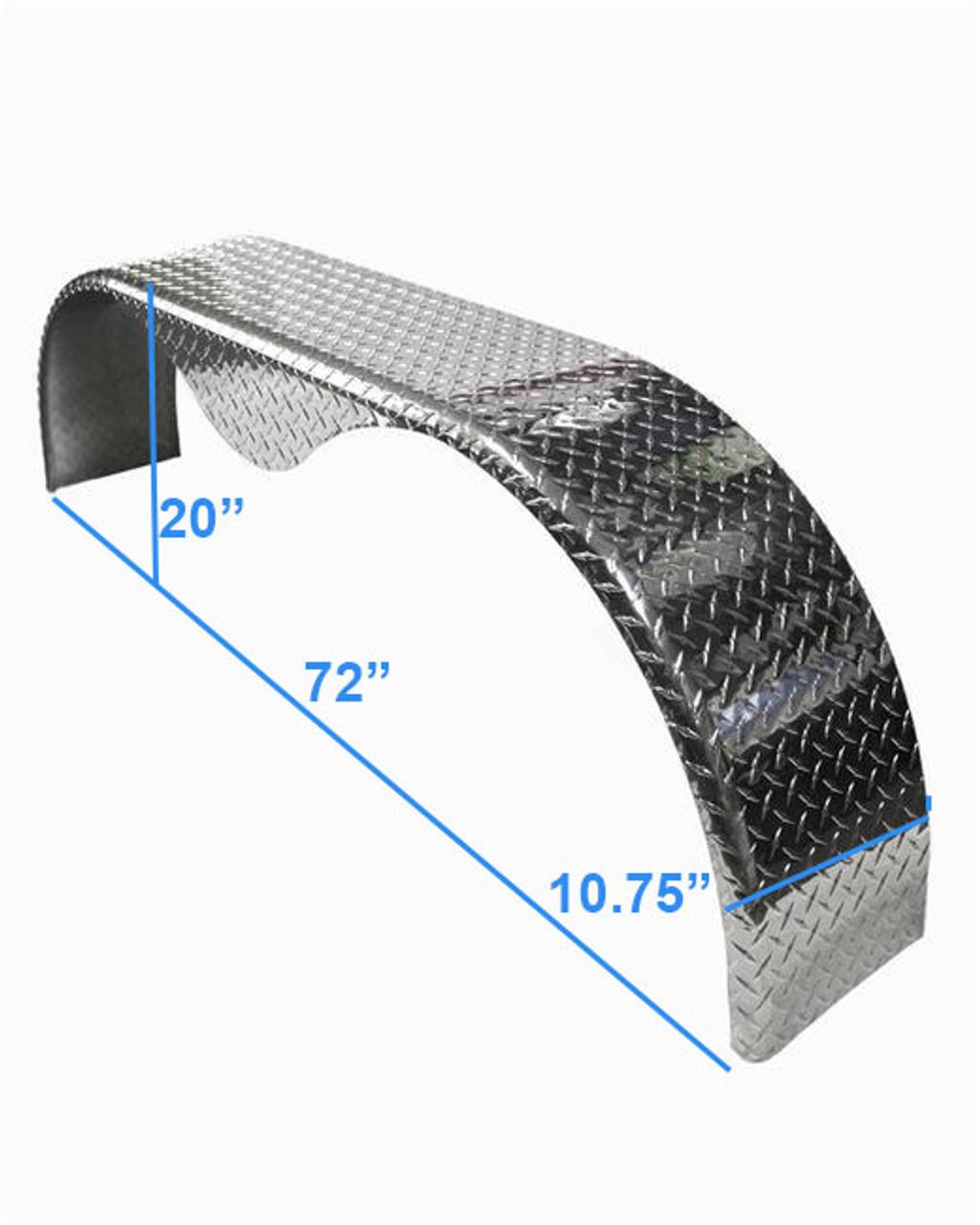 72x10-3/4 Aluminum Tread Plate Trailer Fender - Tandem Axle Teardrop - One Fender