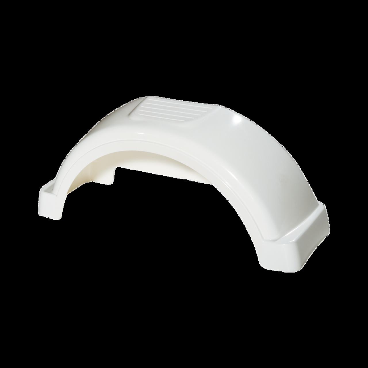 """White Plastic Trailer Fender - 13"""" Tire Size - One Fender - 008543"""