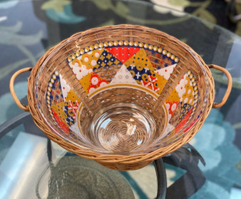 Boho Glass & Wicker Chip Serving Bowl