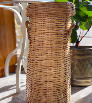 Tall Wicker Basket with Lid