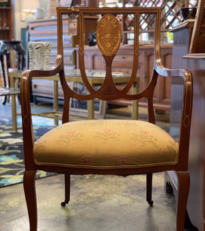 Antique Chair with Mother of Pearl Inlay