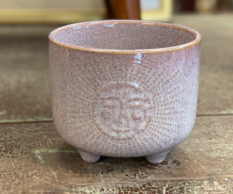Glazed Ceramic Pot with Sun Motif
