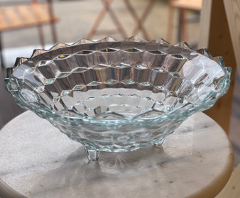 Clear Depression Glass Footed Bowl