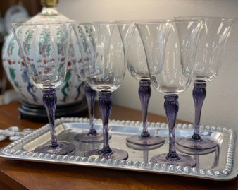 Block Crystal Wine Glasses with Amethyst Stems