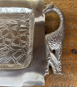 Pewter Tray featuring Giraffe Handles
