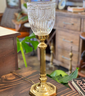 Brass Lamp  with Glass Shade