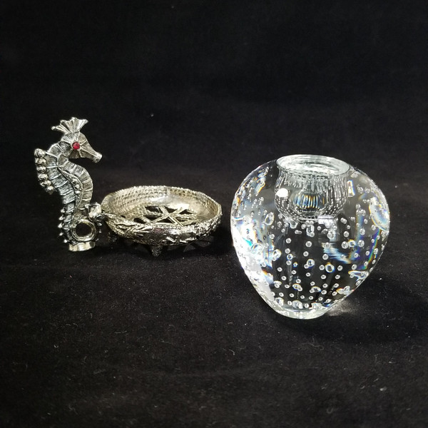 Set of Seahorse Candlestick Holders with Trapped Air Bubbles