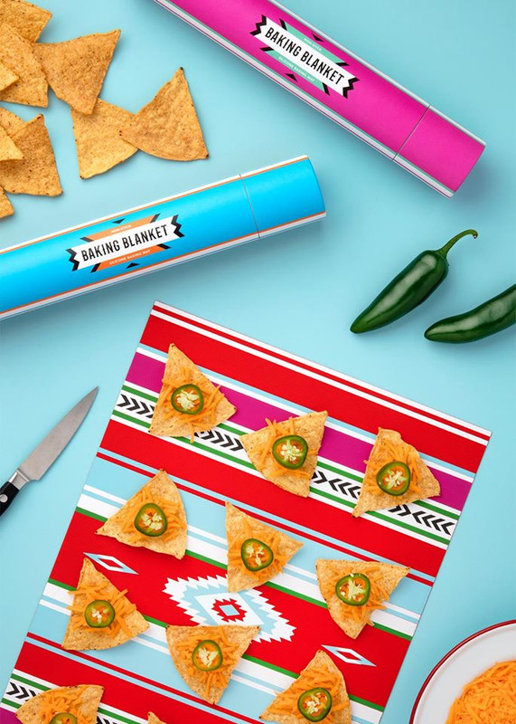 The Baking Blanket​ is a vibrant silicone baking liner inspired by classic Mexican textile prints.