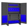 Original Durham Cabinet, 14 Gauge, 4 Drawer, 12 Door Shelves, 69 Blue Bins , 48 x 24 x 78 JCBDLP694RDR-5295