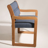 Wooden Mallet Valley Collection Bariatric Guest Chair, Sled Base, Wine Vinyl, Light Oak