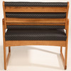 Wooden Mallet Valley Collection Three Seat Bariatric Chair, Center Arms, Sled Base, Watercolor Rose, Medium Oak