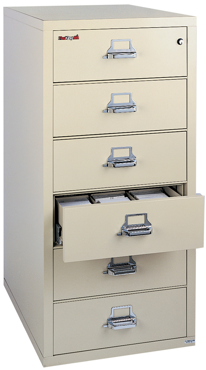 FireKing Fireproof Index Card File Cabinet, Check & Note Filing, 6-Drawer, Parchment 6-2552