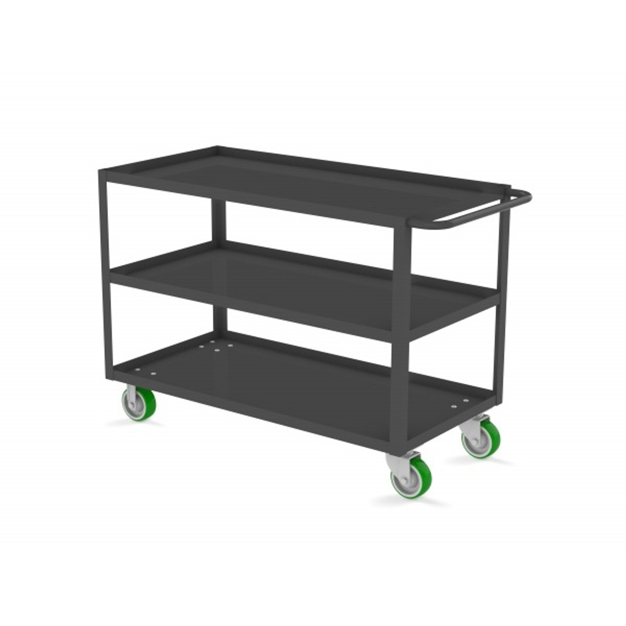 "Valley Craft Three Shelf 24 x 48"" Utility Cart, Gray with Poly Casters"