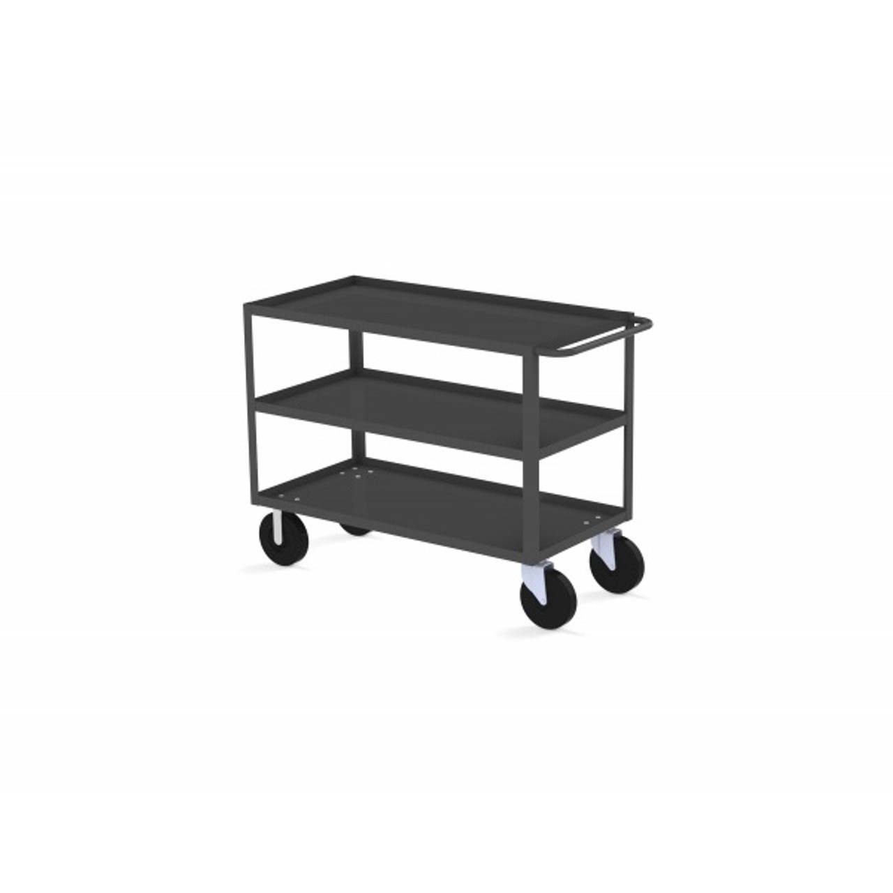 "Valley Craft Three Shelf 30 x 48"" Utility Cart, Gray with Mold On Casters"